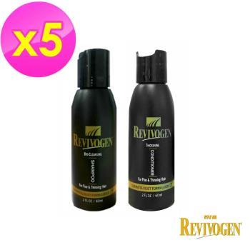 REVIVOGEN立髮健- 第三代強效 鋸棕櫚 洗護旅行組(洗髮乳*1+護髮素*1/組*5組)