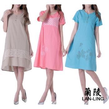 蘭陵自然棉麻蕾絲拼接洋裝3入 G03-04