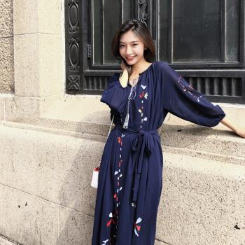 維拉森林-復古溫雅刺繡雪紡洋裝-S~XL(共二色)