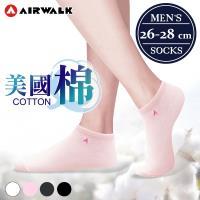 【AIRWALK 喜兒思】美國棉素面刺繡船型襪-加大 (4色) 六入組 AW-美棉船2