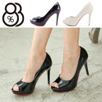 【88%】跟鞋-MIT台灣製 跟高10cm 簡約純色魚口高跟鞋 細跟高跟鞋