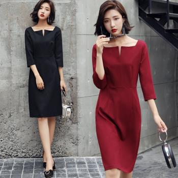 SZ-高雅簡約素色小V領洋裝連身裙M-2XL(共二色)