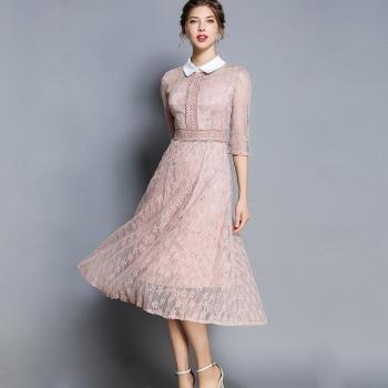 M2M- 五分袖鏤空蕾絲娃娃領氣質洋裝連身裙S-XL