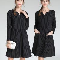 麗質達人 - 3101黑色條紋洋裝