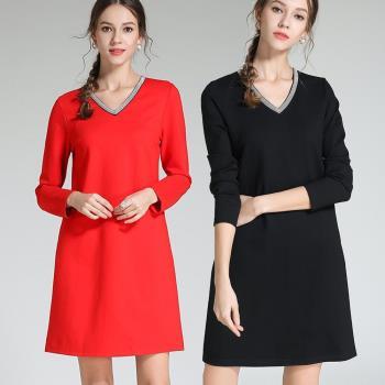 麗質達人 - 3096棉質V領洋裝二色