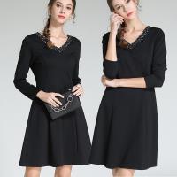 麗質達人 - 3095黑色V領釘珠洋裝