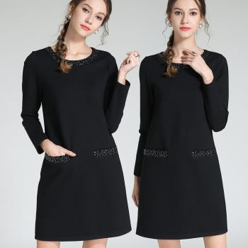 麗質達人 - 3105黑色釘珠口袋洋裝