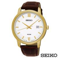 SEIKO精工  簡約風尚壓紋皮帶石英腕錶 SUR226P1