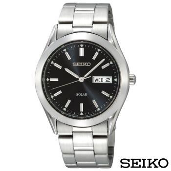 SEIKO精工 都會紳士風太陽能石英腕錶 SNE039P1