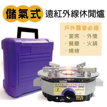 買一送一 戶外露營攜帶式遠紅外線儲氣式休閒爐附收納盒+送戶外露營解凍/烤肉兩用盤1組