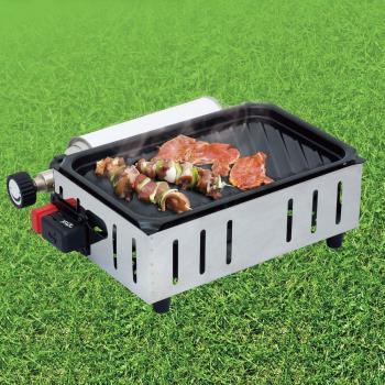 金德恩 台灣製造 兩人份集油烤盤設計露營野炊環保迷你烤肉爐/炊具組/卡式瓦斯罐