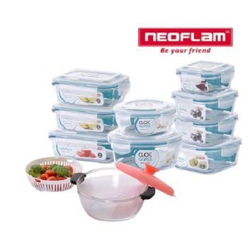 韓國NEOFLAM CLOC耐熱玻璃保鮮盒+調理缽10件禮盒組