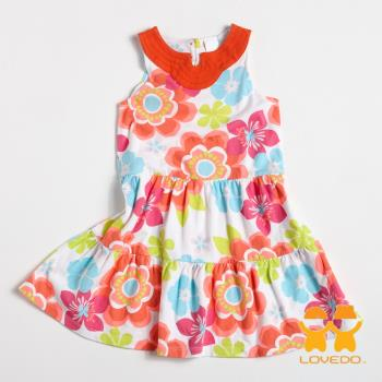 【LOVEDO-艾唯多童裝】柔美花色 可愛無袖小洋裝(橘) GSH13143