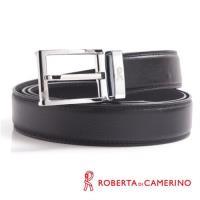 【ROBERTA 義大利皮件】諾貝達-經典穿針式-線條刻紋設計-真皮皮帶-銀色