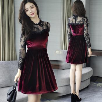REKO-名媛風金絲絨拼接透視蕾絲洋裝連身裙S-XL