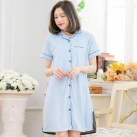 素面撞色襯衫式哺乳孕婦家居連身裙睡衣(自在藍)全尺碼lingling日系