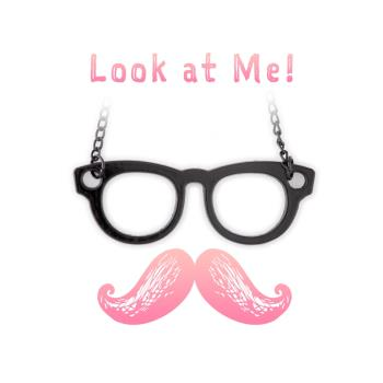 [Hemera]知性眼鏡造型個性黑色長項鍊