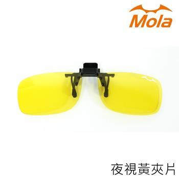好用推薦!MOLA摩拉偏光夜視黃眼鏡夾片 夜間/陰天/雨天開車外出 近視眼鏡可用-小翻黃