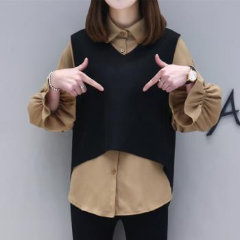 KVOLL-雪紡襯衫荷葉束口袖背心兩件式套裝XL-5XL(共二色)