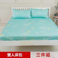 米夢家居-台灣製造-100%精梳純棉雙人5尺床包三件組(花藤小徑)