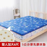 米夢家居- 夢想家園-冬夏兩用純棉+紙纖蓆面-馬來西亞進口100%天然乳膠床墊-5公分厚-雙人加大6尺