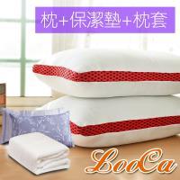 LooCa 超透氣獨立筒枕2入+美國Microban抗菌保潔墊1入+防蹣枕套