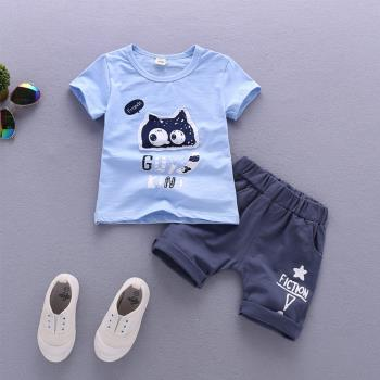 童裝男童短袖襯衫可愛龍貓女寶寶衣服童褲套裝