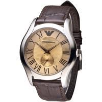 EMPORIO ARMANI 皇家典藏獨立小錶盤男錶-咖啡香檳色(AR1704)
