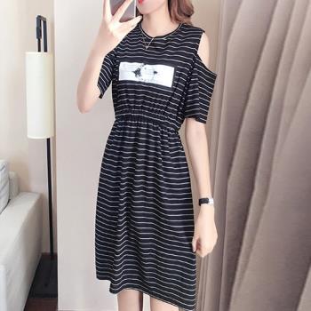 KW韓國. XL~5XL 簡約迷人時尚露肩洋裝