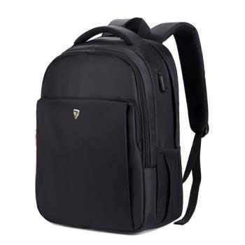 【SUMDEX】PON-1304BK 防盜USB充電多功能16吋電腦後背包黑色
