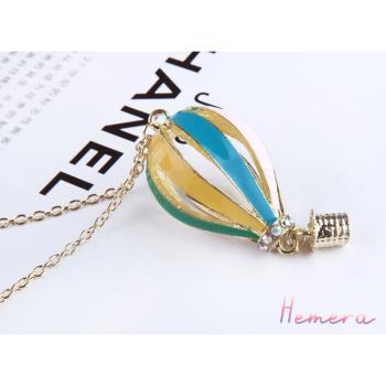 [Hemera]繽紛馬卡龍配色簍空熱氣球金色項鍊