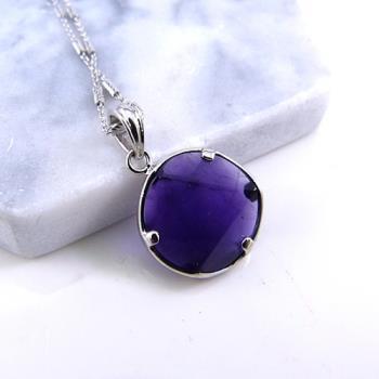 【寶峻晶石館】紫水晶大衛星項鍊