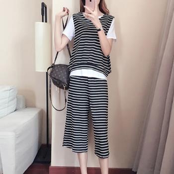 KW韓國. XL~5XL 絢麗風采休閒風條紋套裝