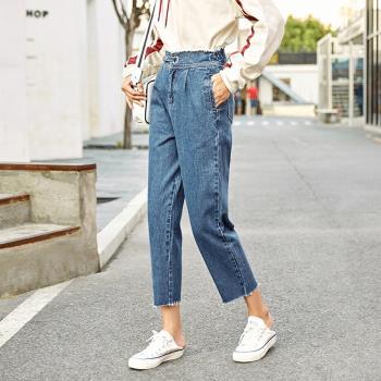 ALLK 鬆緊褲頭9分牛仔褲 深藍色(尺寸27-31腰)