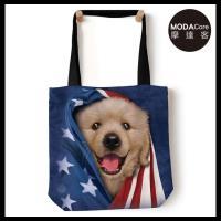 摩達客(預購)美國The Mountain 愛國小黃金獵犬 藝術環保托特包