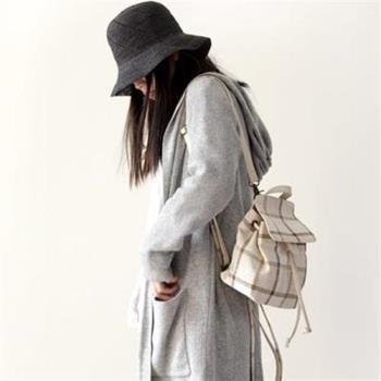 【米蘭精品】後背包棉麻雙肩包-文藝清新經典格紋女包包5色73sx25