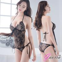 Gaoria  微醺禮物 性感古典肚兜蕾絲 情趣睡衣 黑 N4-0002