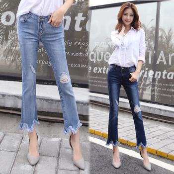 KW韓國. M~2XL 造型褲管顯瘦彈力刷破牛仔褲