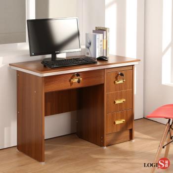 LOGIS邏爵 高效收納方案工作桌 書桌100cm電腦書桌 多用途桌 胡桃木紋桌 辦公桌 LS-201