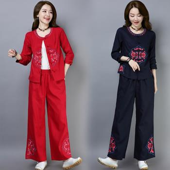REKO-棉麻中國風刺繡上衣褲套裝M-2XL(共二色)
