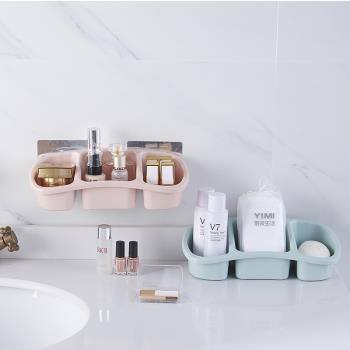 [ 居家樂 ] 無痕黏貼式置物盒 收納盒 整理盒 吸壁式 浴室 免打孔