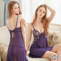 大尺碼Annabery 柔紗刺繡二件式性感睡衣(深紫色)