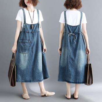 【JimmyWang】 純棉牛仔韓版寬鬆大碼顯瘦吊帶連衣裙