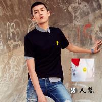 【男人幫】韓國英文字母印花短袖短袖純棉T恤(BK017)