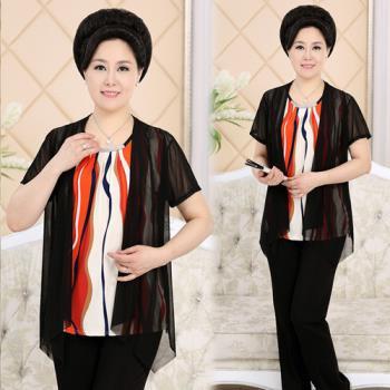 韓國K.W. 氣質短袖彩色條紋雪紡假兩件式上衣-