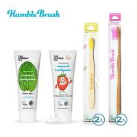 【BabyTiger虎兒寶】瑞典Humble Brush 天然牙膏可分解環保牙刷 6件組