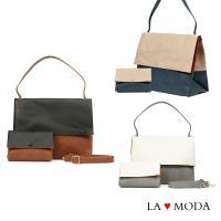 La Moda經典品牌Look設計款拼接撞色肩背斜背子母包 (共3色)