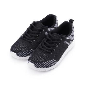 GIOVANNI VALENTINO 針織斜紋休閒運動鞋 黑 GV8591黑 女鞋 鞋全家福