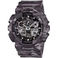 G-SHOCK 街頭時尚迷彩圖樣腕錶-迷彩灰(GA-100CM-8A)