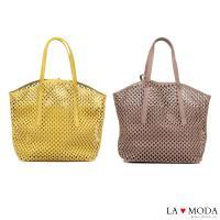 La Moda 經典設計款圓形沖孔大容量肩背斜背子母托特包(共2色)